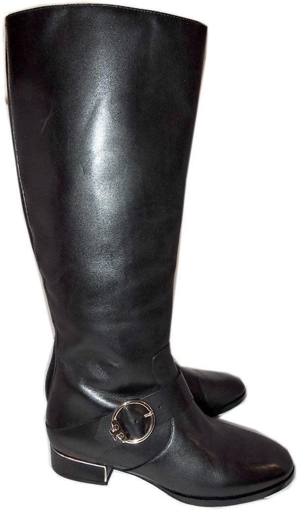 c8d455c5d7cc Tory Burch SOFIA Black Leather Riding Boots Flat Buckled Equestrian Booties  9