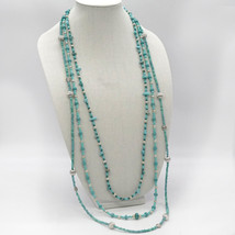 Turquoise 3 strand seed bead necklace. - $69.99