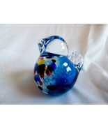 Art Glass Paperweight  Blue Bird speckled chest figurine - $23.76