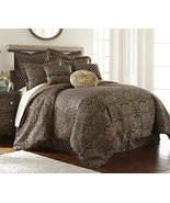 Sterling Creek Valencia 9-Piece Black Gold Floral Jacquard Oversized Com... - $104.99