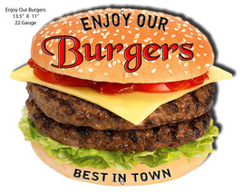 Enjoy Our Burgers Laser Cut Out Sign 11x13.5 - $19.80