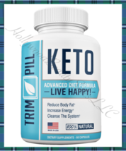 TRIM PILL KETO Weightloss BHB Supplement 60ct Fat Burner Slimming Pill Increases - $29.95