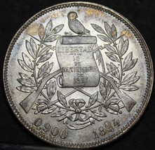 Guatemala Peso, 1894 Rare Gem Unc Silver~Rainbow Toning~Excellent~Free S... - $185.01