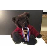 "Susan Ewoldt Plush Black Bear Plush w Corduroy Jacket 13"" tall Seated VG... - $55.81"