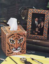 Plastic Canvas Tiger Jungle Tissue Cover Flower Napkin Holder Coasters Pattern - $7.99