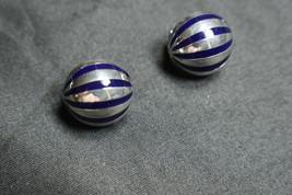 Tiffany & Co  Blue Enamel Sterling Silver Earrings Pierced Omega Back, Rare - $484.99
