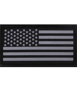Reflective US Flag Patch Black & Silver Military Hook & Loop American USA - $5.99