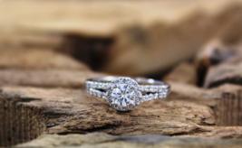 Solid 18k White Gold Halo Design White Diamond Round Cut Womens Anniversary Ring - $419.99