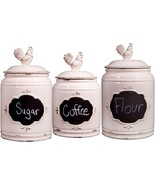 Set of 3 Ivory Chalkboard Rooster Canisters GB by Home Essentials - $82.12