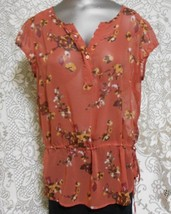 a.n.a. Size PL Dark Orange Floral Henley Neck Short Sleeve Semi Sheer Top - $15.64