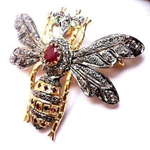 chanvanworld Rose Cut Diamond Sterling Silver Antique Fly Ruby Brooch Pi... - $234.22