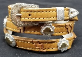 NEW Southwest HATBAND Tan+Beige LEATHER w STERLING+GOLD CONCHOS &Buckle ... - $43.48