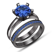 Round Cut Sapphire Solitaire Bridal Set Engagement Ring 14K Black Gold F... - $101.99