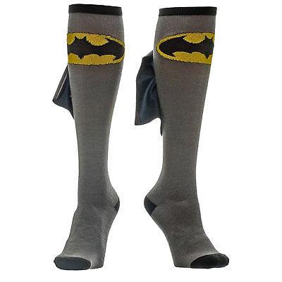 Batman Knee High Shiny Cape Socks Grey