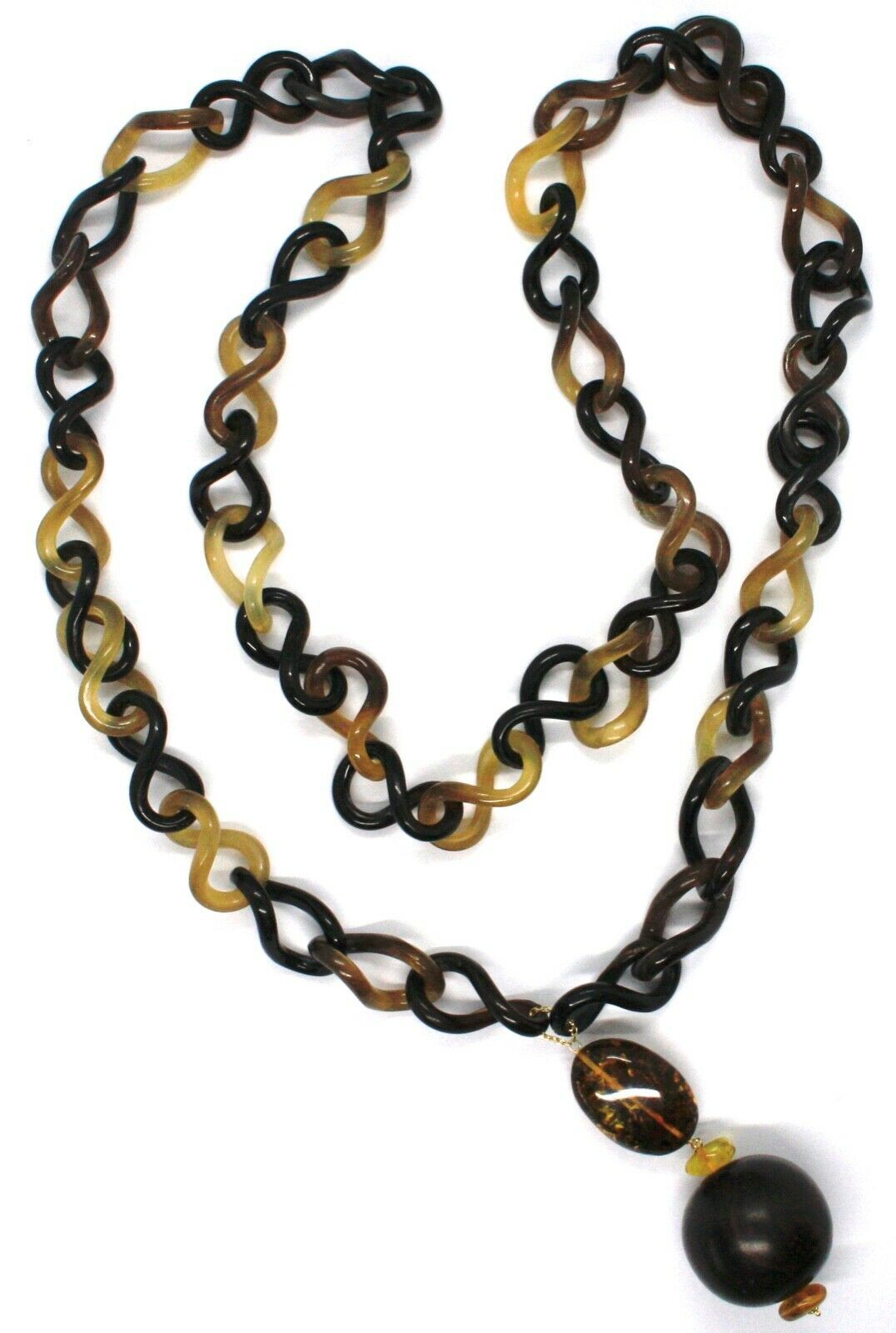 18K YELLOW GOLD LONG NECKLACE, HORN, AMBER, EBONY, 1 METER, 39.4 INCHES