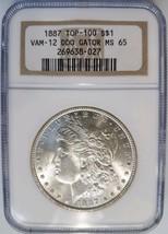 1887 Silver Morgan Dollar NGC MS 65 Vam 12 DDO Gator Eye Mint Error Coin... - $289.99