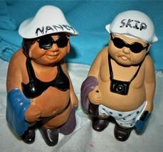 F.M.F.L. 1985 The Beachcombers Man Woman Figurine Tourist Souvenir Set C... - $17.57