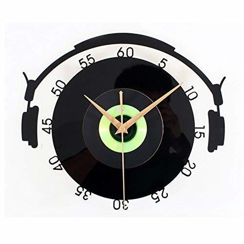 PANDA SUPERSTORE Solid Black Plastic CD Wall Clock Retro Look Home Decoration(12