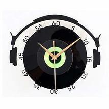 PANDA SUPERSTORE Solid Black Plastic CD Wall Clock Retro Look Home Decoration(12