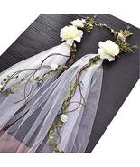 Flower Head Wreath White Veil Fabric Bridal Headpiece #2 - $22.03
