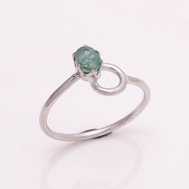 NATURAL EMERALD 3*5 MM OVAL 925 STERLING SILVER 7 US RING - £12.21 GBP