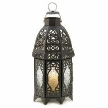 Black Metal Lattice Candle Lantern - $12.24