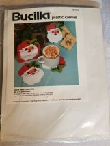 1993 Bucilla Plastic Canvas 61169 Santa Face Coasters Set Of 6 Plus Holder Nip - $34.99