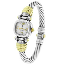 Ladies David Yurman 925 Sterling Silver 14K Gold MOP Bangle Watch Bracelet - $749.95