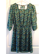 BeBop Slit Sleeve Peek a Boo Back Blue Green Chevron Floral Dress Size S - $18.99