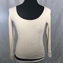 Faded Glory Tan Beige Oatmeal Henley Long Sleeve Knit Top Shirt XS - $8.94