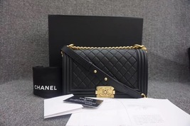 AUTHENTIC CHANEL BLACK QUILTED LAMBSKIN MEDIUM BOY FLAP BAG GHW WITH RECEIPT