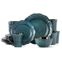 Elama Lavish Blue Dinnerware set with Complete Setting for 4 (16-Piece) - $81.17