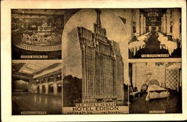 VINTAGE POSTCARD- MULTI-VIEWS OF THE HOTEL EDISON, NEW YORK CITY, NY  BK22 - $3.92