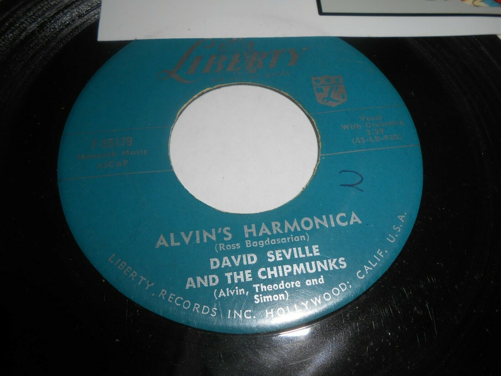 David Seville and The Chipmunks Alvin's Harmonica 45 rpm Record 1959 Liberty