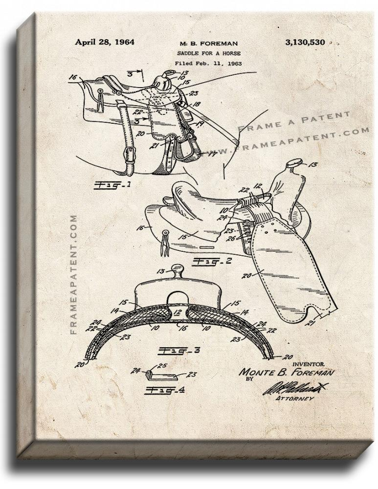 Primary image for Horse Saddle Patent Print Old Look on Canvas
