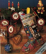 Cross Stitch Holiday Kitchen Toile Xmas Stocking Sampler Ornaments Pattern - $11.99