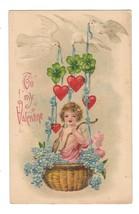 Valentine Cupid in Basket Doves Hearts Vintage Embossed B W Germany Postcard  - $4.99