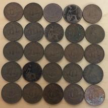 Lot of 25 British Half Pennies (Lot 214) - $12.95