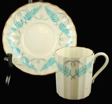 Vintage Royal Worcester Small Demitasse Cup & Saucer Ferncroft Blue Grey - $53.99