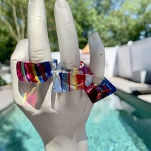 VTG NOS 1960's Lucite Mod Ring Stripes & Geometric Rainbow Multicolored ... - $40.04