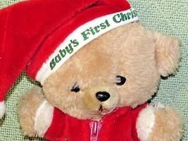 "10"" Vintage ENESCO PJ TEDDY Plush Bear BABY'S FIRST CHRISTMAS Stuffed KOREA RARE image 2"
