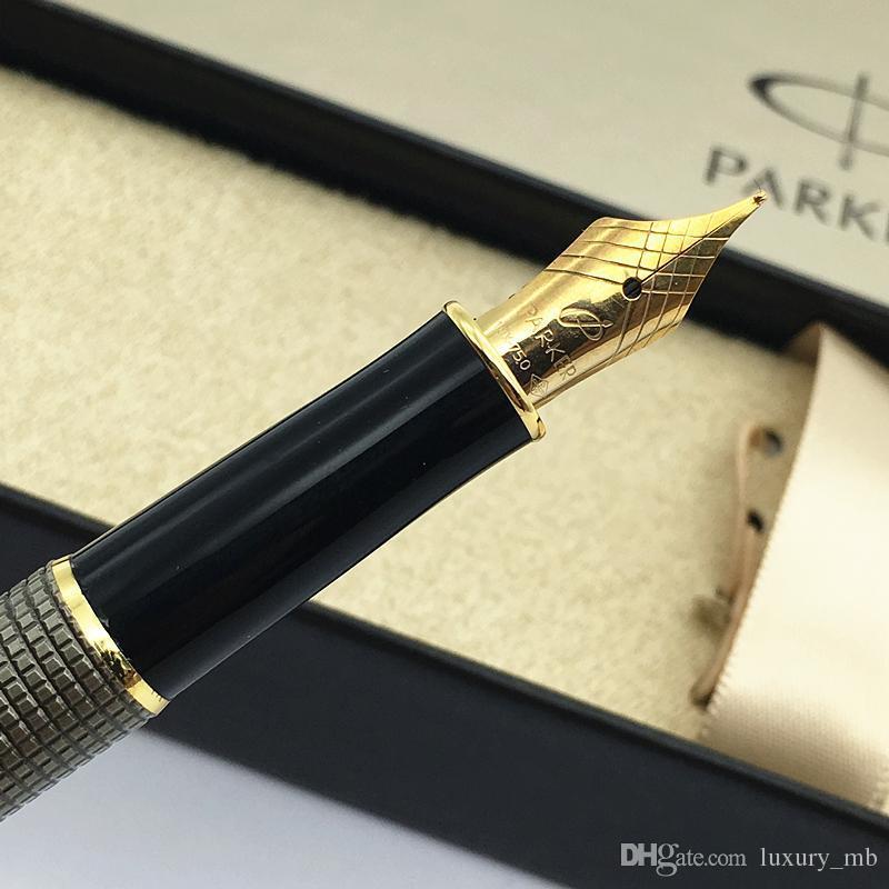 New Parker 18K Sonnet Series 08 stylo Gray grid Fountain Pens Writing ink pen su
