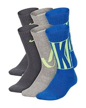 Nike Kids' Everyday Cushion Crew Socks (6 Pairs) (Medium|Grey/Blue) - $19.36