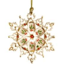 Lenox 40th Anniversary Snowflake Ornament Holiday Holly Gemmed Christmas... - $69.94