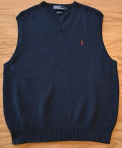 Polo Ralph Lauren Mens Large Navy Linen Cotton Blend Knit V Neck Sweater... - $23.74