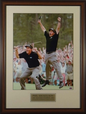 Primary image for Phil Mickelson unsigned 2004 Masters Jump 2 pose 16X20 Custom Leather Framed