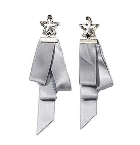 European Style Ribbon Individuality Earrings Asymmetric Earrings, Gray