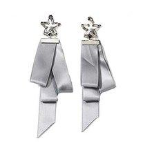 European Style Ribbon Individuality Earrings Asymmetric Earrings, Gray