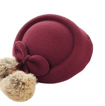 Wool Fedora Hat Small Hat Hairpin Side Clip Hair Accessories, Wine Red Cravat