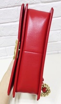 100% AUTHENTIC CHANEL RED QUILTED LAMBSKIN MEDIUM BOY FLAP BAG GHW image 6